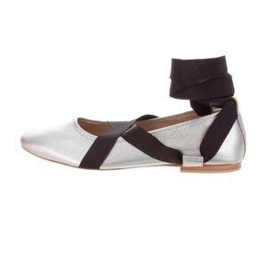 LOEFFLER RANDALL Silver Ballerina Wrap Flat NIB